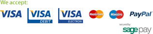 We accept Visa, Mastercard, Maestro and Paypal, all secured by SagePay