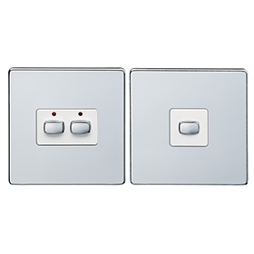 Smart 6mm master/slave two gang Light Switch Chrome