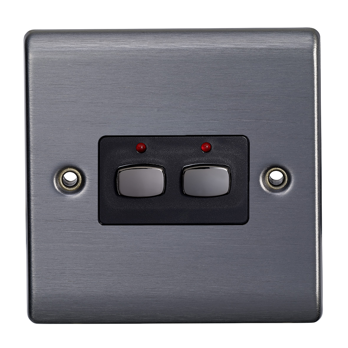 Smart 6mm two gang Light Switch Graphite