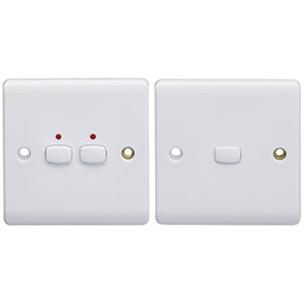 Smart 6mm master/slave two gang Light Switch White